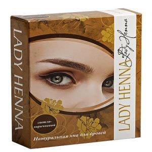 Хна натуральная для бровей lady henna леди хенна  ,  10 г. светло-коричневая