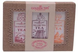 Golden Tips «3-in-1 Darjeeling, Assam, Nilgiri Teas, Jute Box», 150 г.