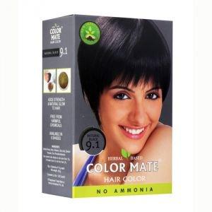 Натуральная краска для волос на основе хны  9.1,  черный,  без амиака 75 г.  Color MateКраски для волос и хна<br>Краска отлично впитывается в структуру волоса и держится более <br>длительное время. Окрашенные волосы не выгорают на солнце и не портятся от <br>морской воды.<br>
