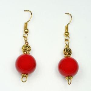 Серьги красный коралл Fluroyana - Этнические украшения, чётки
