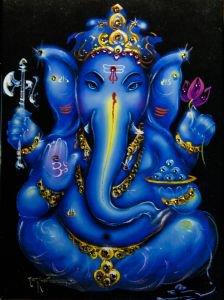 Боги индии: ганеша на черном Kremma Glass - Предметы интерьера