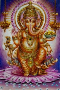 Боги индии: ганеша на лиловом  Kremma Glass от Ayurveda-shop.ru
