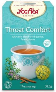 Yogi tea throat comfort здоровое горло  Yogi TeaАюрведические чаи Yogi Tea<br>Этот сбор содержит травы, традиционно используемые в аюрведе для смягчения боли в горле. Напиток обладает приятным натуральным вкусом, действует мягко и эффективно.<br>