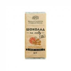 Горький шоколад на меду с апельсином и имбирем, 70 % Экотопия, 50 г. - Полезные сладости