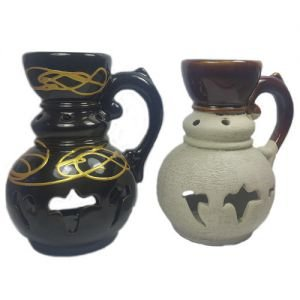 Аромалампа кувшинчик средний с резьбой 13см-11см керамика в ассортименте Сандаловый Дом - Подарочные ароманаборы