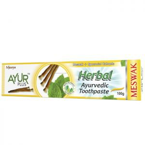 Фото - Травяная зубная паста Мисвак-Мята Аюр Плюс (Herbal Ayurvedic Toothpaste Meswak Ayur Plus), 100 г.