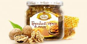 Грецкий орех в меду te gusto, 300 г.Мед с орехами<br>Грецкий орех в меду - натуральный продукт, приготовленный из высококачественных сортов мёда и ядра грецкого ореха.<br>