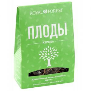 Кэроб целый плоды рожкового дерева измельченные royal forest роял форест  ,  100 г.