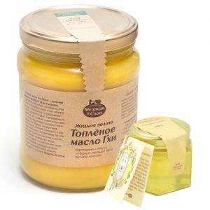 Масло топленое гхи Медведь и слон, 1 л. + подарок мёд натуральный - Пищевые масла