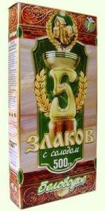 Крупка «5 злаков по-старорусски с ростками и отрубями: греча, ячмень, пшеница, овес, ржаной солод», 500 г.