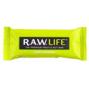 Батончик лайм-имбирь R.A.W. LIFE, 47 г. - Полезные сладости