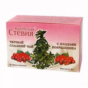 Чай черный со стевией и боярышником 20 фильтр пакетов Дары Памира, 30 г. - Напитки со стевией