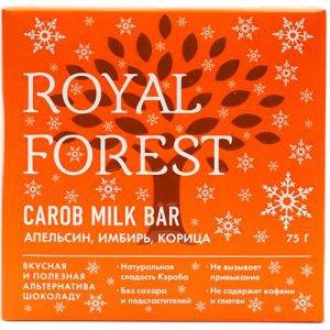 Шоколад из обжаренного кэроба с апельсином, имбирём и корицей royal forest Royal Forest (Роял Форест), 75 г. - Полезные сладости