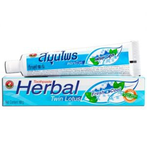 Зубная паста с травами свежесть и прохлада herbal freshcool twin lotus твин лотус  ,  100 г.
